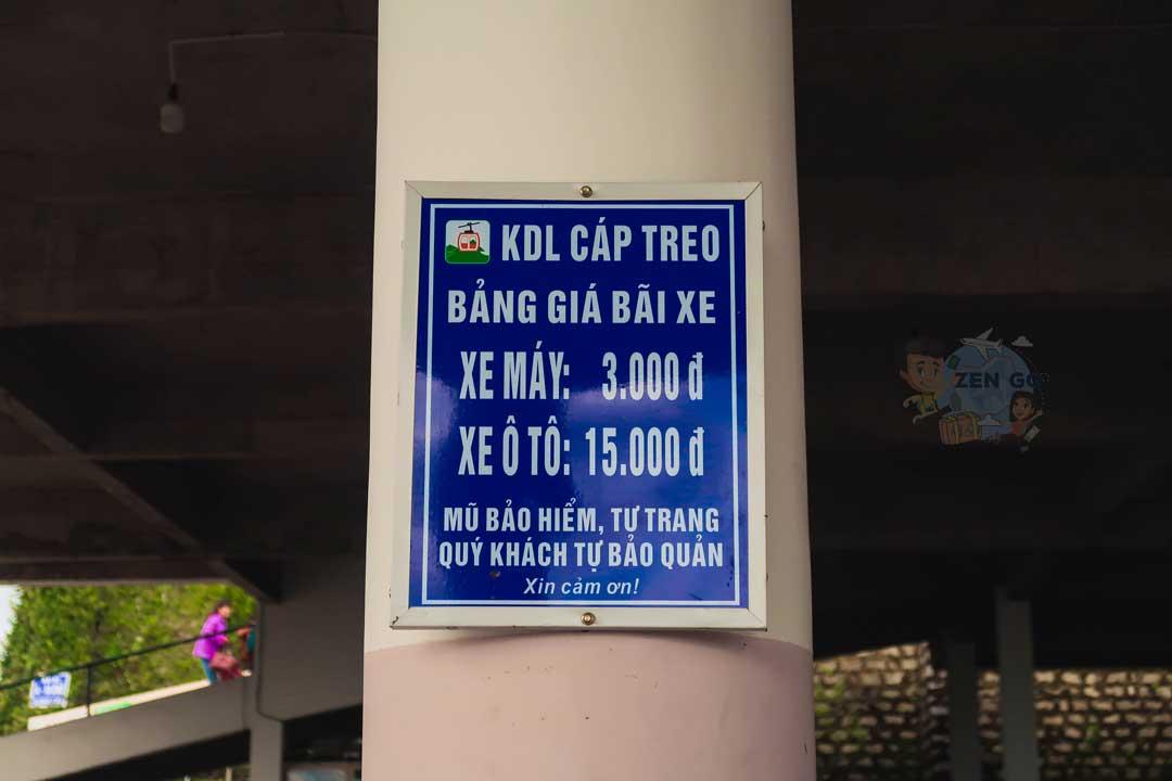Biển hiệu báo giá gửi xe