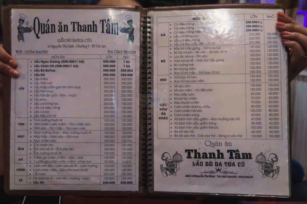 Menu của quán lẩu bò Thanh Tâm